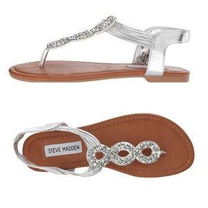 STEVE MADDEN Jfinny Silver Thong Flat Sandal Sz 3